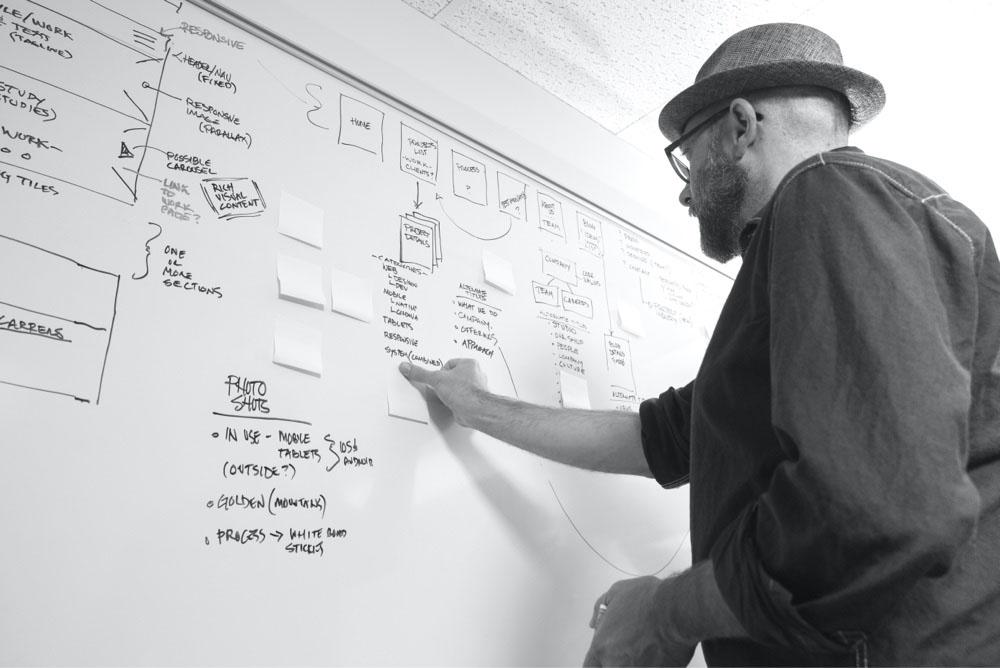 The Woodridge design team planning at a whiteboard.