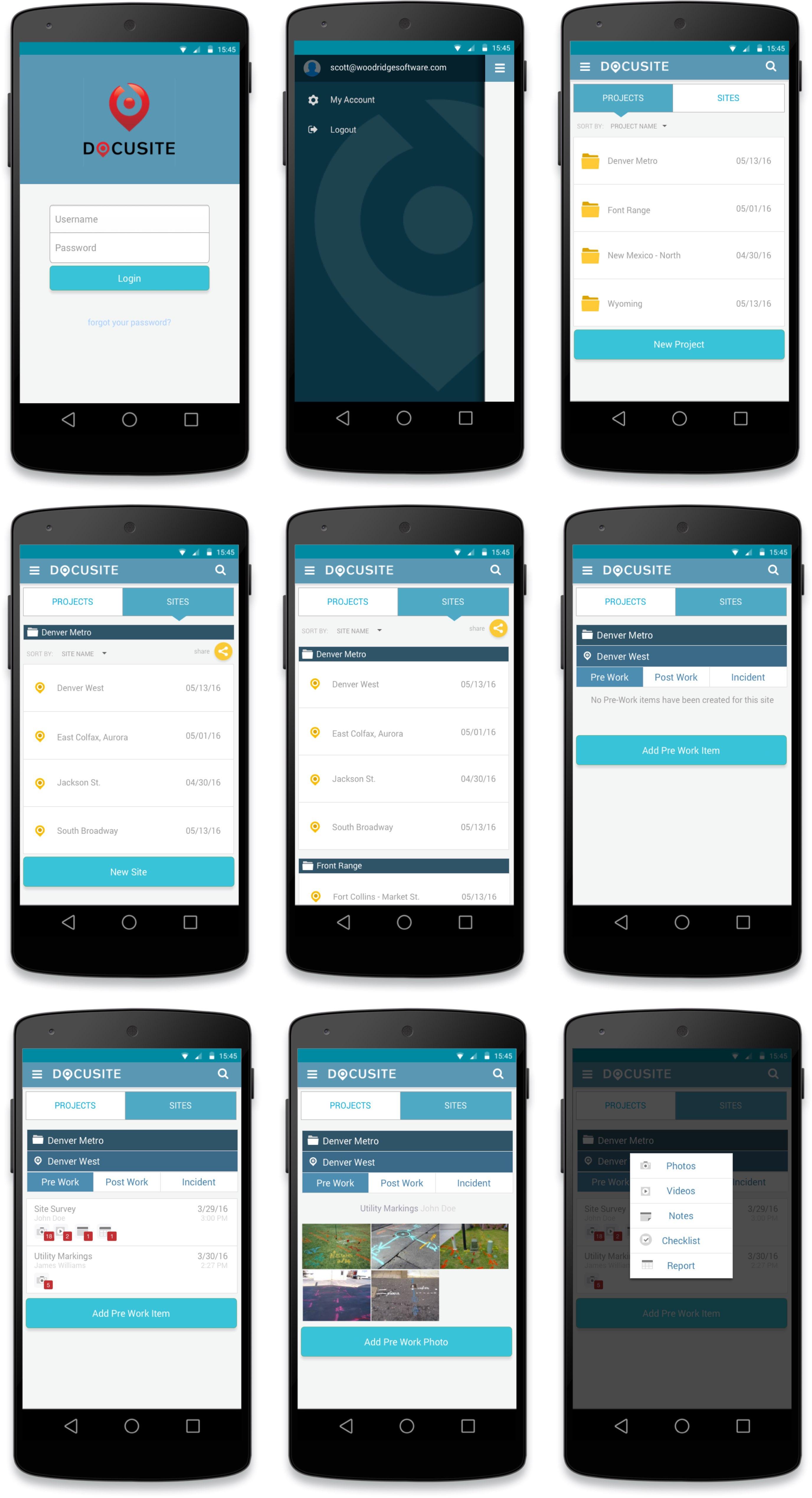 Docusite Android Screens