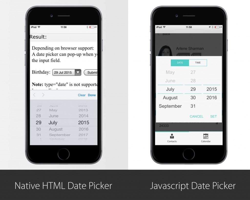 native vs hybrid date selector